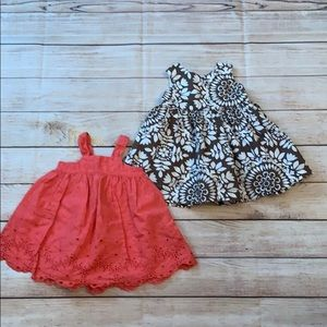 Lot of 2 baby size 6-12 month dresses Carters Gap